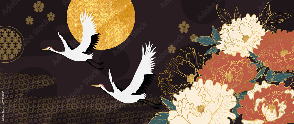 Fototapeta Luxury gold floral oriental style background vector. Flower wallpaper design with peony flower, Japanese, Chinese oriental line art with golden texture. Vector illustration.