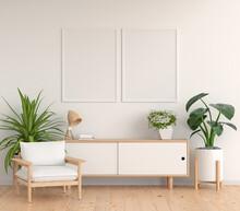 Sideboard In Blue Living Room With Frame Mockup, 3D Rendering