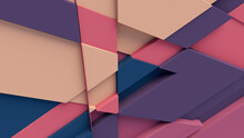 Multicolored Tech Background, With A Geometric 3D Structure. Clean, Pastel Colored Design With Simple, Modern Forms. 3D Render