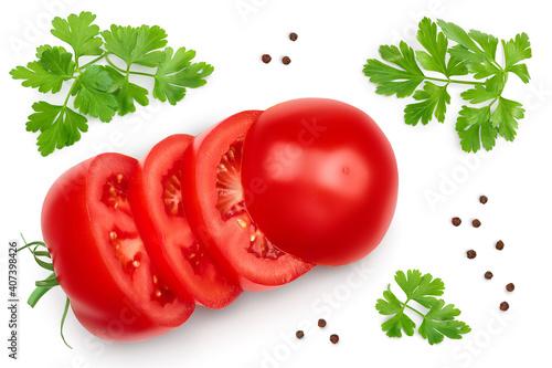 Fototapeta Tomato slices isolated on white background