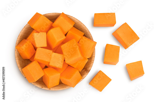 Obraz na plátně butternut squash slice in wooden bowl isolated on white background with clipping path and full depth of field