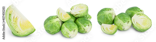 Fototapeta Brussels sprouts and half isolated on white background with clipping path and full depth of field