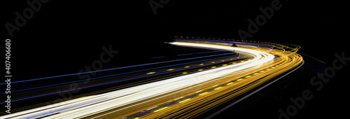 abstract yellow car lights at night. long exposure Fototapeta