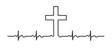Black Vector Heartbeat Line Art Silhouette Drawing.Cross.God Lord Jesus Christ.Heart Rhythm.ECG.Cardiogram.Faith.Christian Banner.Health.Normal Cardio .Tattoo.Baptist.Church.Vinyl Wall Sticker Decal.