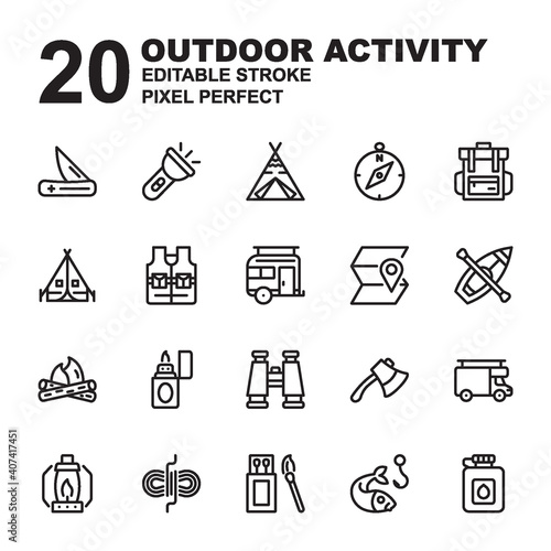 Canvas Print Icon Set of Outdoor Activity