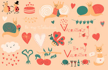 Vector Valentines Elements. Cute Cloud With Red Hearts, Cake, Butterfly, Couple Of Snails, Ladybugs, Spiders. Cartoon Illustration. Romantic Holiday Valentine Day Poster Or Greeting Card, Banner