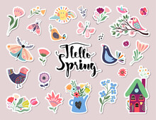 Hello Spring Stickers Collection With Different Seasonal Elements