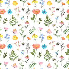 Cute Summer Floral Seamless Pattern. Watercolor Orange, Blue, Yellow, Pink Wildflowers, Green Leaves On White Background. Shabby Chic Country Style Print. Hand Drawn Design Texture.