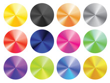 A Vector Set Of Round Clean Templates With Shiny Metal Chrome Gradient Of Different Colors: Silver, Gold, Bronze, Black, Red, Green, Pink, Blue. Can Be Used As A Retail Label, Badge Or A Sticker.