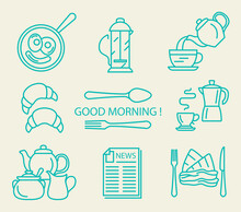 Breakfast Flat Vector Icon Set. Illustration