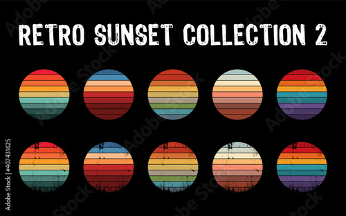 Vintage sunset collection in 70s 80s style. Regular and distressed retro sunset set. Five options with textured versions. Circular gradient background. T shirt design element. Vector illustration,flat - fototapety na wymiar