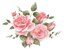 Vector Illustration Of A Composition Of Delicate Roses. Pink Roses For Textiles, Decor And Festive, Wedding Invitations, Cards