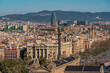 High Angle View of Buildings and monuments in the city of Barcelona, Catalonia, Spain