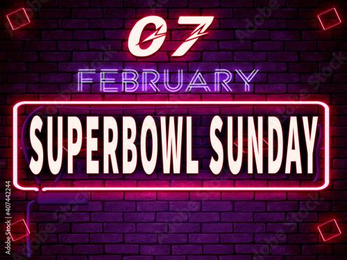 Obraz 07 February Superbowl Sunday, Neon Text Effect on Bricks Backgrand - fototapety do salonu