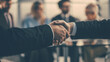 close up. business partners shaking hands during a business meeting