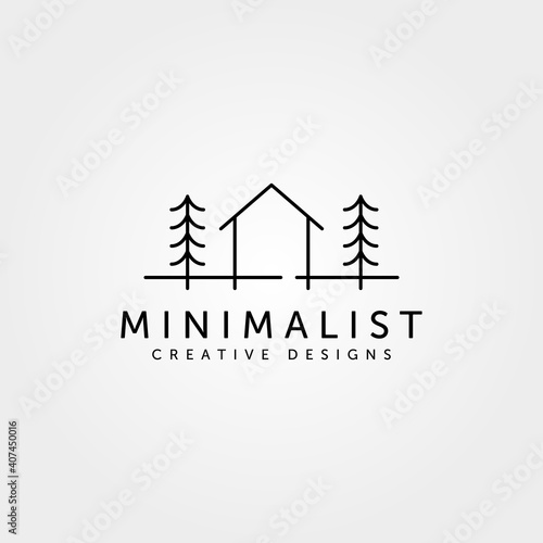 minimalist cabin house logo line art cottage symbol vector illustration design Wallpaper Mural
