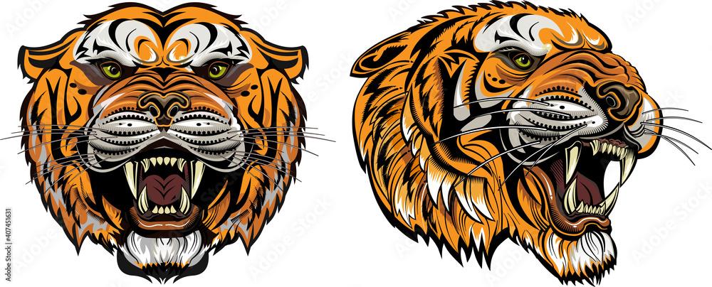 Fototapeta Too Tiger Face Color Tattoo