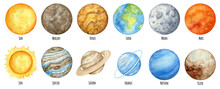 Watercolor Planets Of The Solar System. Outer Space Planet Mercury Venus Earth Mars Jupiter Saturn Uranus Neptune Pluto With Sun Hand On White Background. Our Galaxy Astronomy Education Material.