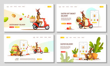 Set Of Web Pages For Happy Easter. Rabbits Riding A Scooter With Easter Basket And Phone With Decorated Eggs On The Screen. Easter Delivery Concept. Vector Illustration For Poster, Banner, Website.