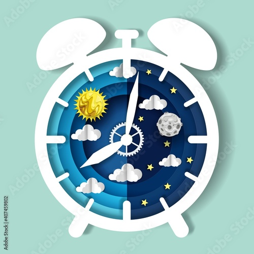Fotografija Paper cut craft style clock with day and night sky on dial, vector illustration