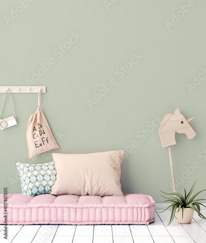 Obraz Cozy nursery interior background, Scandinavian style, 3D render - fototapety do salonu