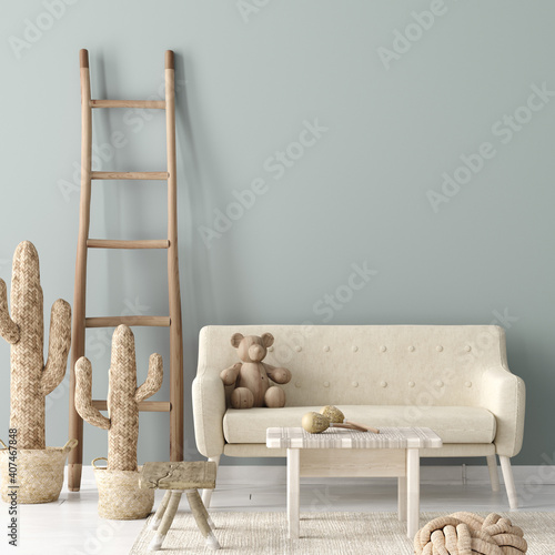 Photo Cozy nursery interior background, Scandinavian style, 3D render