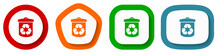 Recycle Vector Icon Set, Flat Design Recycling Buttons On White Background