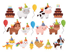 Cute Cartoon Farm Animals Collection With Birthday Cake, Presents, Balloons And Cake. Vector Illustration For Invitation And Greeting Card Design.