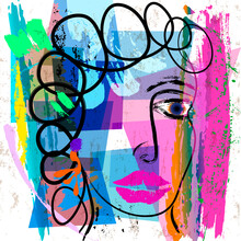 Abstract Background Composition, With Paint Strokes And Splashes, Face Or Mask Design