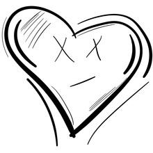 Heart Face. Vector Black White Heart Illustration.