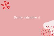Tarjeta Rosa De San Valentín Con Corazones Y Topos Y El Mensaje Be My Valentine