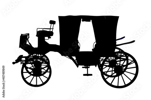 Photo black silhouette of the carriage is isolated on a white background