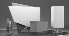 Exhibition Stand Design, Booth Mock-up With Blank Cube Box, Information Desk Or Exhibition Counter Isolated.