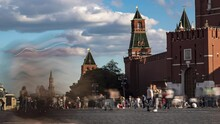 Crowds Of Tourists On Red Square In Moscow, Time Lapse