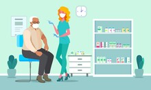 Medic Worker, Patient And Healthcare, Medical Prevention Treatment And Immunisation. Healthcare Worker Vaccination Old Man For Corona Prevention. Old Man And Nurse Vector Illustration.