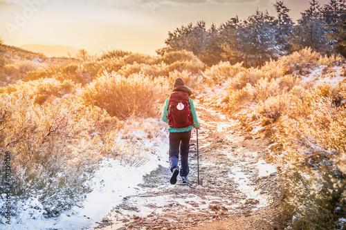 Girl Pilgrim Hiker on the Snow Winter Mountain Forest  Evening on Pilgrim Way of St James Pilgrimage Camino de Santiago outside El Acebo at Sunset