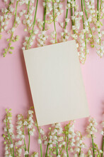 Greeting Card With Lily Of The Valley. Invitation Message On Pink