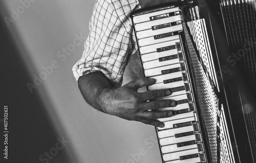 Fotografie, Obraz Accordionist plays accordion, black and white
