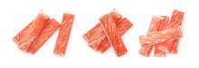 Set Of Fresh Crab Sticks On White Background, Top View. Banner Design