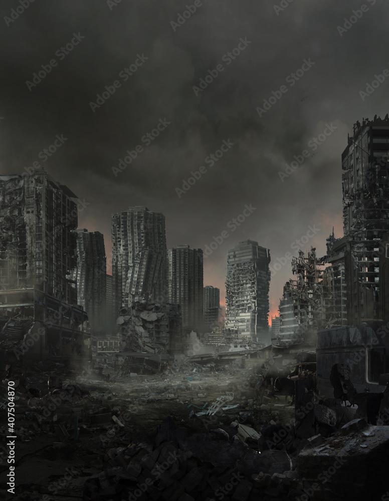 Fototapeta Digital illustration of a lifeless ruined cityscape