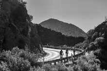 Black And White Shot Of A Group Of Cyclists Riding Up The Angeles Crest Highway Near Pasadena, California, USA, Earth.