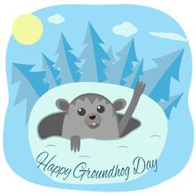 Groundhog Day. Cartoon Marmot Peeking Out Of The Mink. Vector Flat Illustration