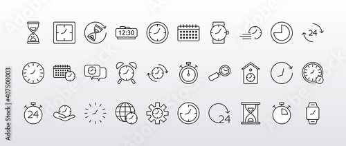 Obraz bundle of thirty time clocks line style set icons - fototapety do salonu