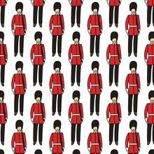 England Royal Guard Seamless Doodle Pattern, Vector Color Illustration