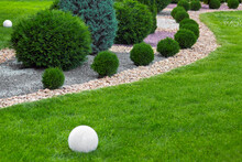 Landscaping Of Garden With Wave Ornamental Growth Cypress Bushes By Stone Mulch Way On A Day Summer Park Details With Round White Ground Lantern, Nobody.