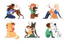 Multiracial Children Hugging Dog Pets Vector Illustration, Happy Girls And Smiling Boys With Puppies, Domestic Animals Concept. Set Of Flat Cartoon Vector Illustrations Isolated On White Background