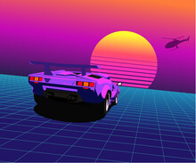 80s Sports Car Rides In Retro Wave Lasaer Grid Landscape With A Striped Sun On The Horizon And Helicopter Silhouette