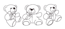 Vector Hand-drawn Illustration Of A Cute Teddy Bear In Different Poses.