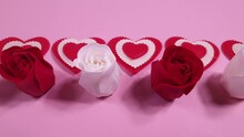 Red And White Roses And Hearts On A Pink Background, Decoration For Valentine's Day And International Women's Day