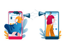A Woman And A Man Use Their Phones To Yell At Each Other Through A Megaphone. Vector Illustration On The Topic Of Conflicts In Social Networks.